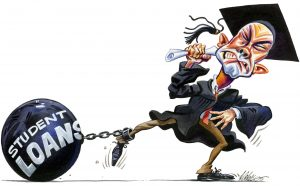Debt ball and chain student loan